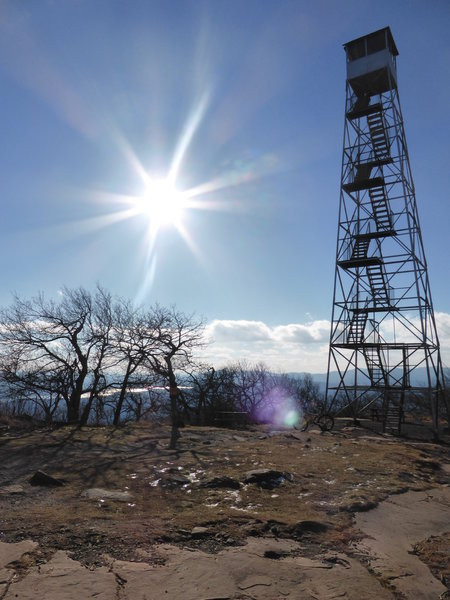 Overlook Fire Tower, Ashokan Reservoir in the distance