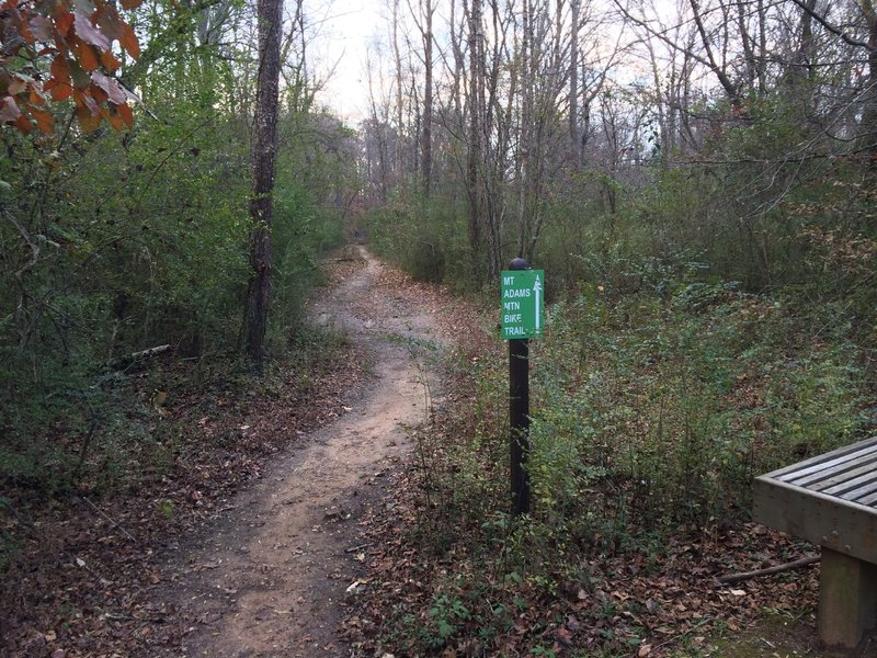 The sign to Mt. Adams MTB trail off of the Alpharetta Greenway.