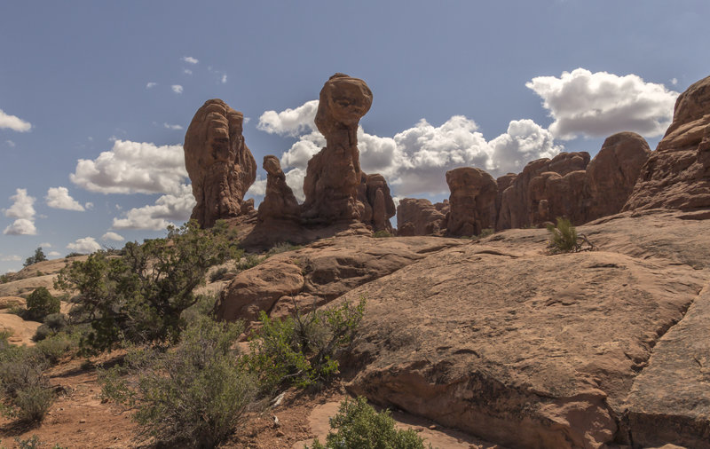 A prime example of some Hoodoo rock formations in Moab.