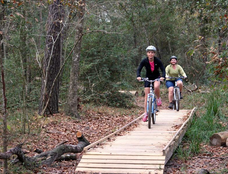 Riders enjoying the bridge