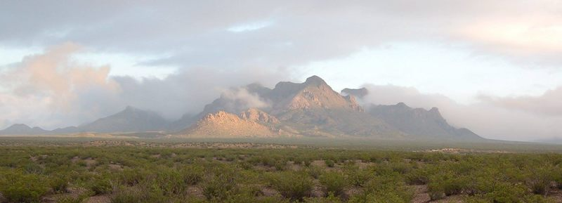 In the parking lot looking at the Dona Ana Mountains