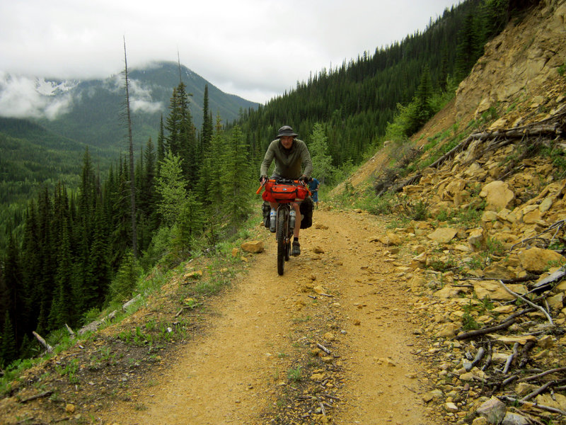 Climbing the pass on the Wildhorse Forest Service Road.