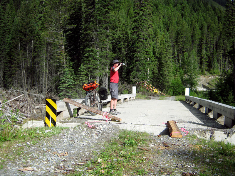 Bridge with partial wash out on Blackfoot Forest Service Road.