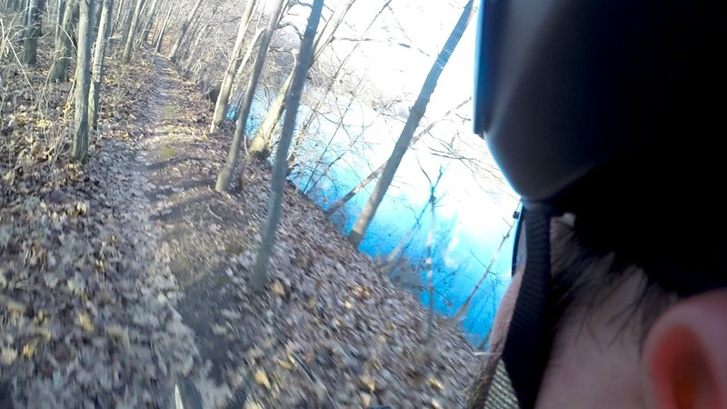 The trail rides along a high embankment of the Grand River. It's a great spot to build up speed when heading in the counter-clockwise direction of the trail.