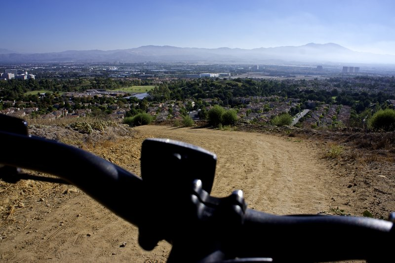 The Quail Trail killer hill looking down towards Quail Hill and eastern Irvine