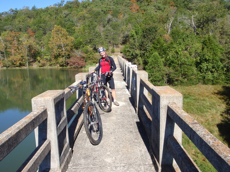 Riding over the dam to the west side of the lake.