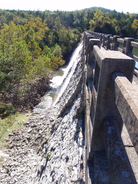 Water flowing through the dam.