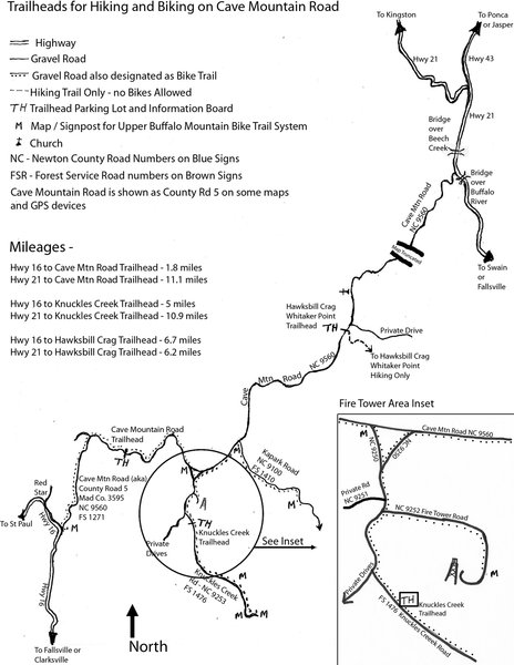 Map of Cave Mountain Road and Trailheads on the Upper Buffalo Mountain Bike Trail System