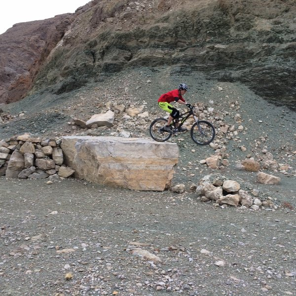 Rock drop at the very top of Frenchman's Freeride