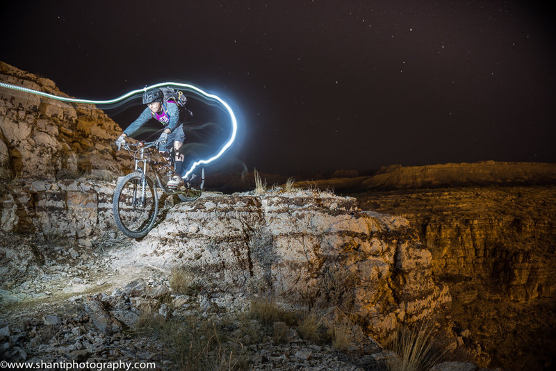Aaron Thomas riding a feature at night on Ike's Exposure