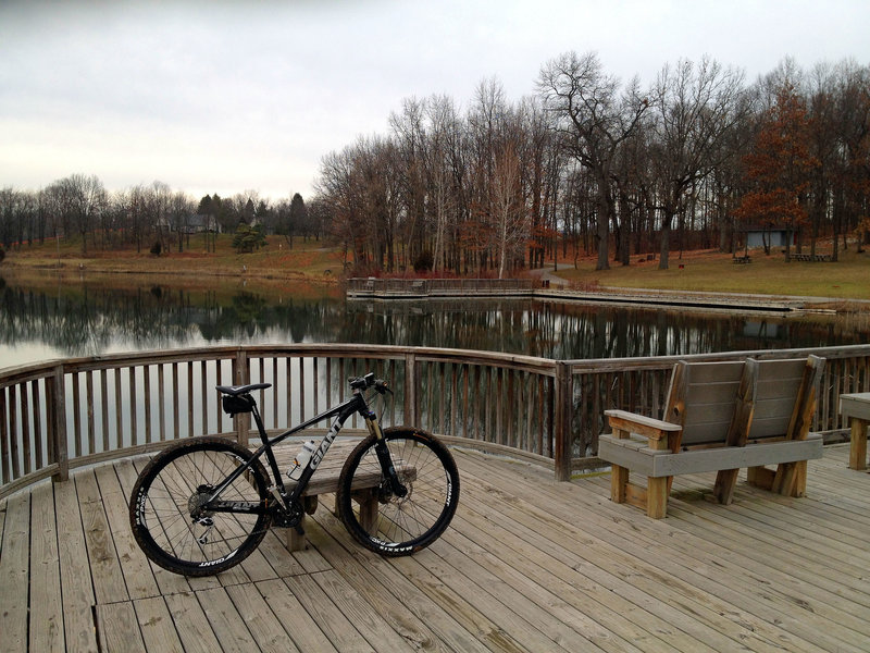 Overlooking the main park pond in the center of the singletrack