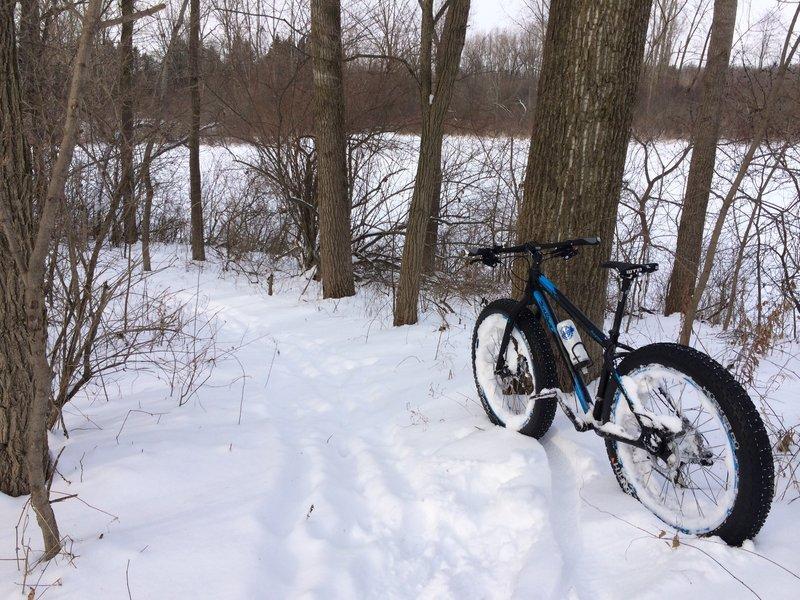 Riding through the snow.