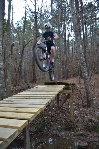 Getting some air on one of the Black Diamond ramp / bridges.