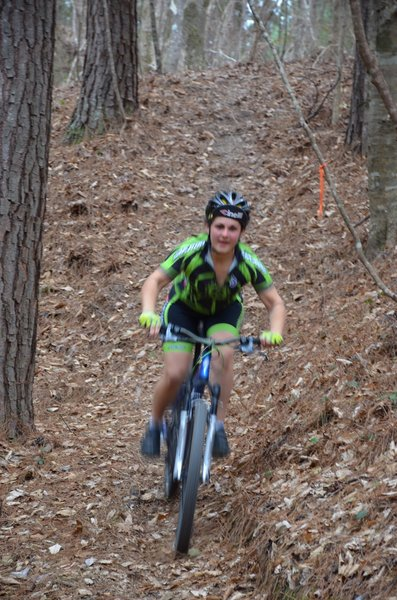 """Charging down """"Hundred Dollar hill"""" on the Black Diamond trail."""