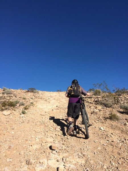 Hiking up to the start of the singletrack