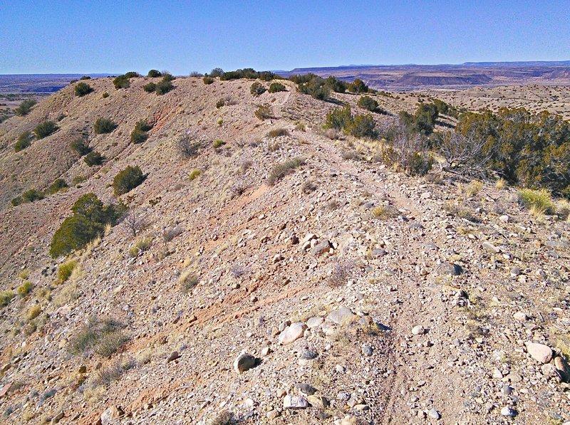 Heading west on gravel ridge