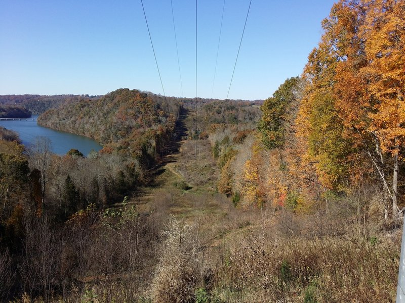 Fall looking down to the Lake. Heading to Zip Line.