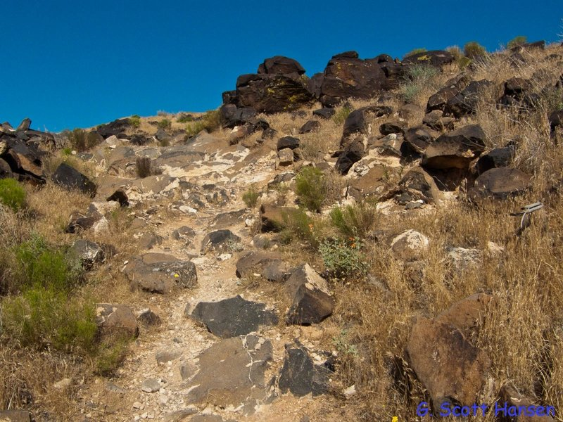 Trail runs through lava boulders near the mesa top
