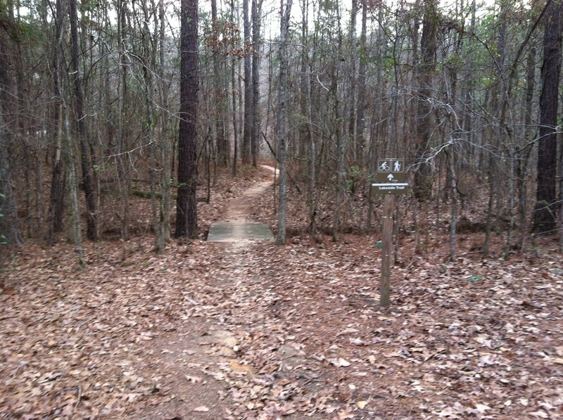 Entrance to the Lakeside Trail, easy section at main trailhead.