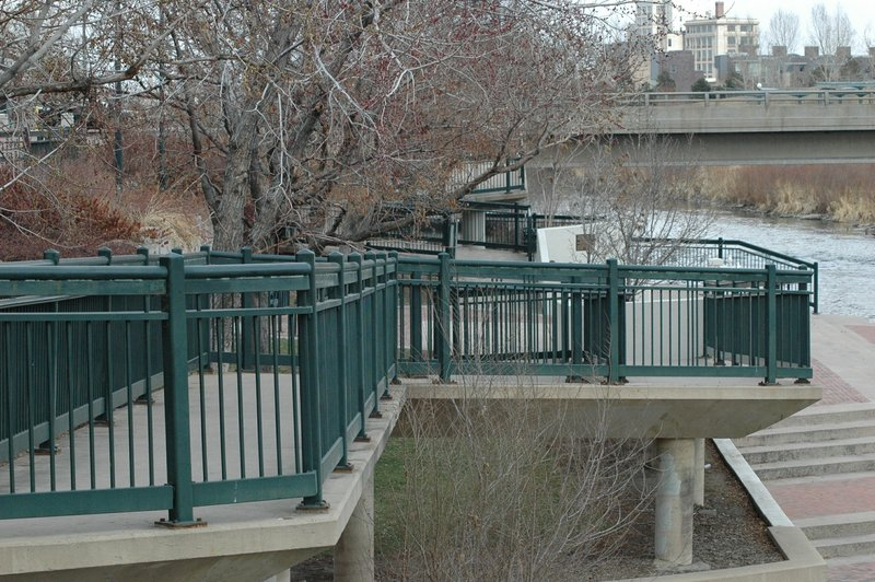 View of the (not too) tricky ramps leading north from Confluence Park.