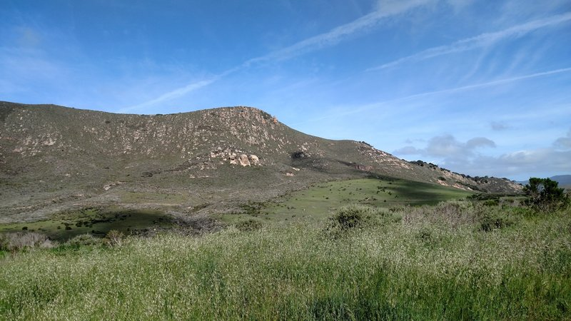 Looking up at Tiki rock from the Canet Trail intersection