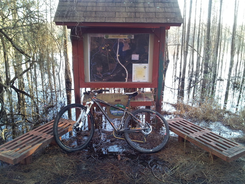 Dutch Tiemann trailhead sign.  A bit flooded today.