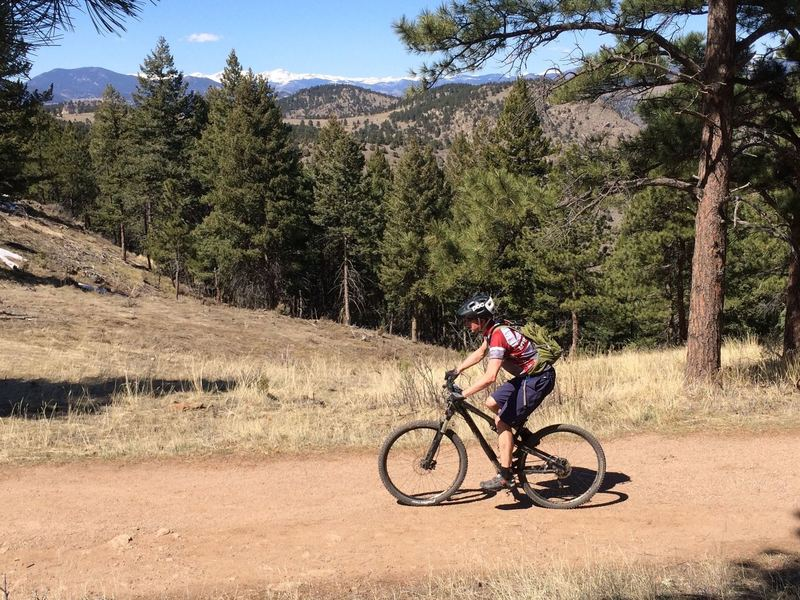 Cruising along the easy upper part of Castle Trail