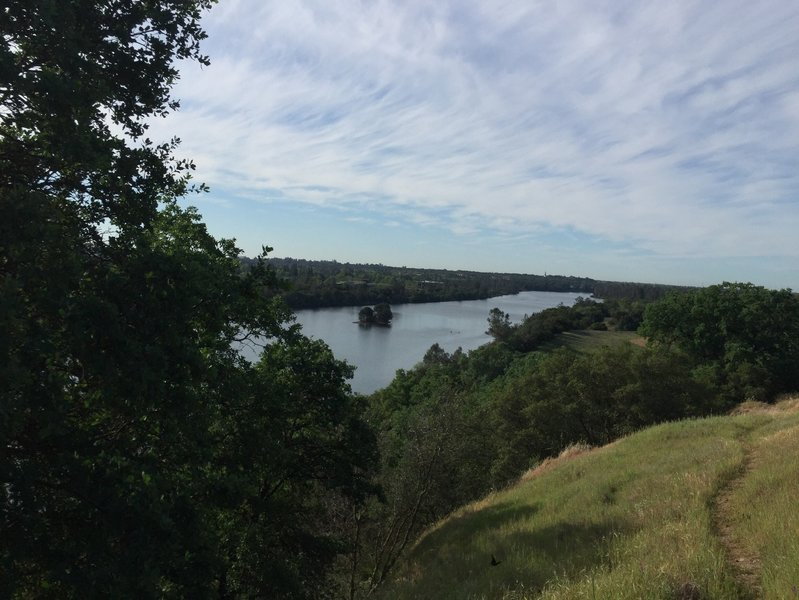 View of Lake Natoma and China Hat from the top of the bluffs.  Lake Natoma Trail