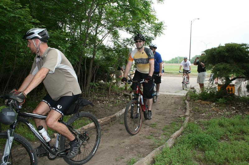 Opening Ceremony at Air Capital Memorial Singletrack Trails, right after the ribbon cutting.