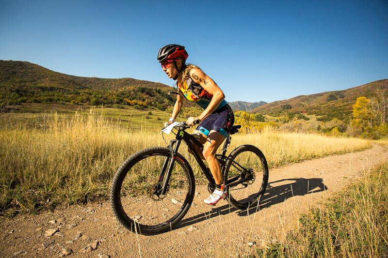 Climbing smooth-rolling singletrack during the XTERRA Nationals Triathlon.