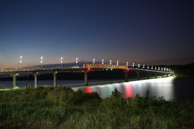 Two Rivers Bridge at dusk