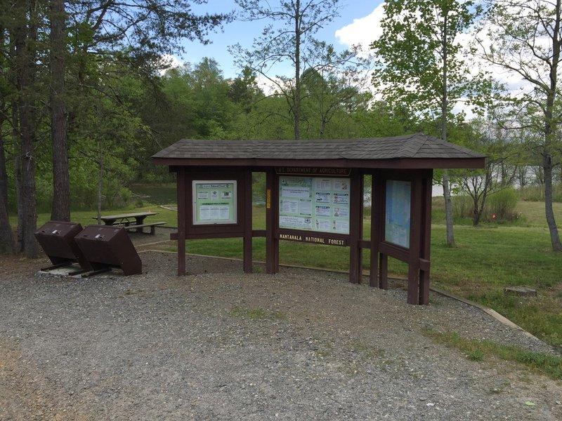 Trailhead information kiosk.