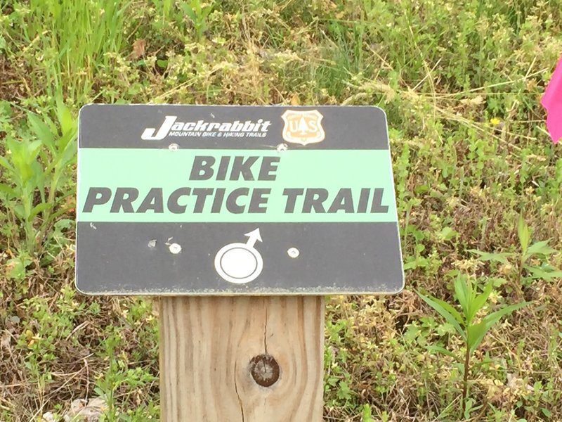 """Sign for the entrance to the """"skills"""" area.  A little short pump/skills track to get you started out."""