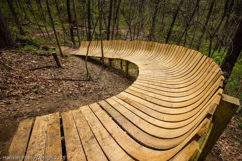 Curved Wood Berms At Illiniwek Forest Preserve On The