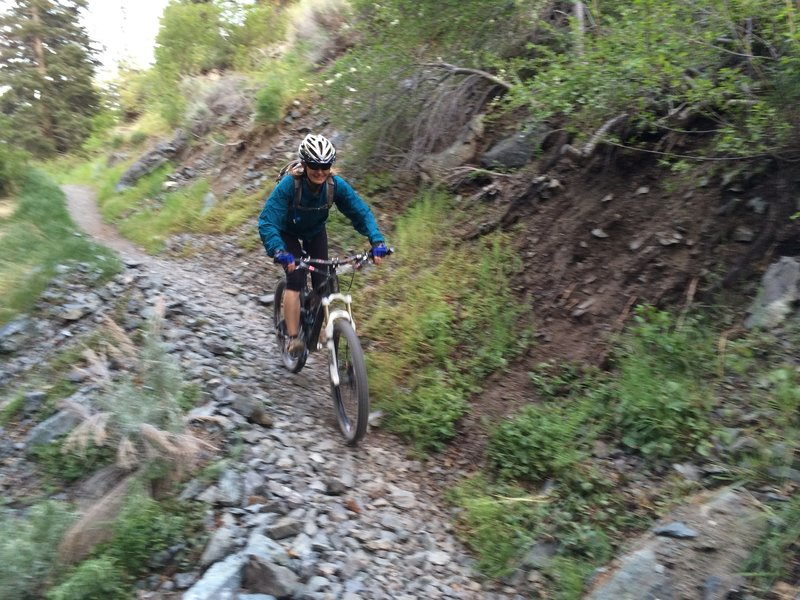 Cruising the runout after negotiating the steep tricky switchbacks and long downhill out of Genoa Cyn. Good to bring layers, the sun and temps drop fast toward the end of the day.