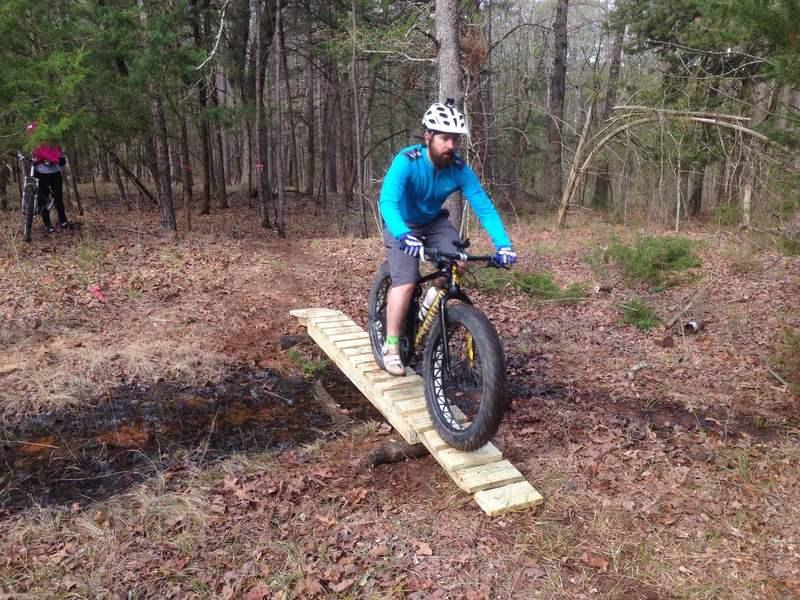 Testing the new skinny bridge on Deer Run.
