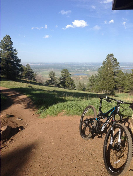 Near the Top of Castle Trail after climbing up the technical singletrack.