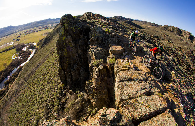 The Ridge trail has plenty of exposure, overlooking the Tomichi Creek valley.