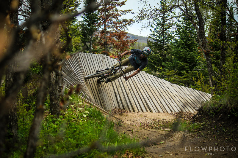 Whipping a turn on the wood. @Steamboat Resort