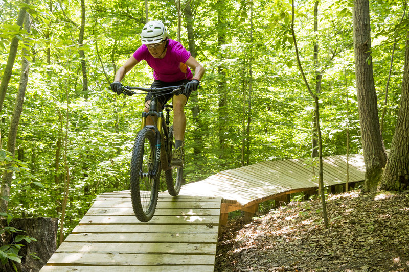 Wooden features are plentiful on The Boss trail.