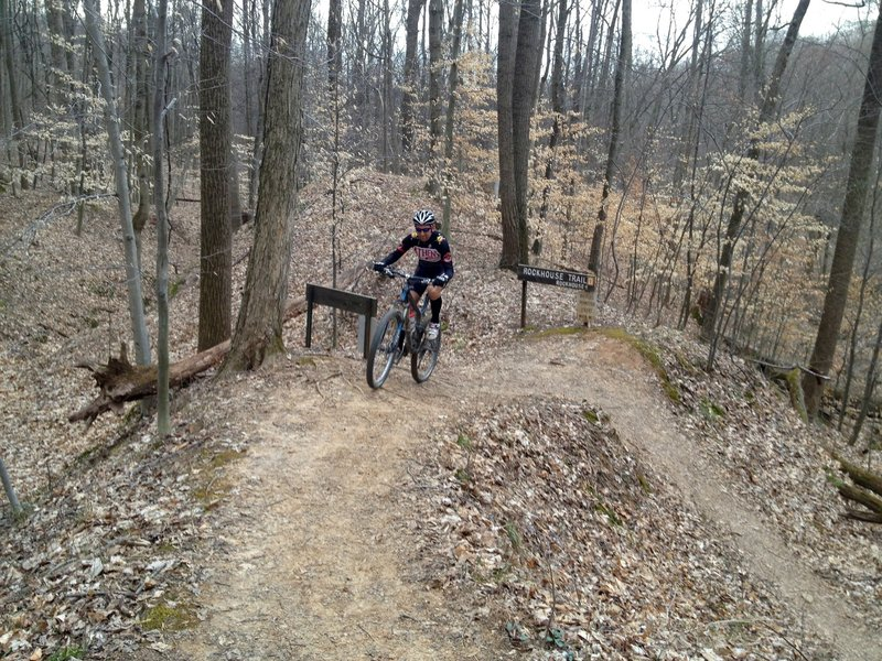 Nailing the switchback on Rockhouse Trail is not easy.
