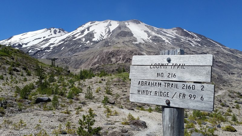 Trail sign for Loowit, Abraham, and Windy ridge with Mt. St. Helens in the background.