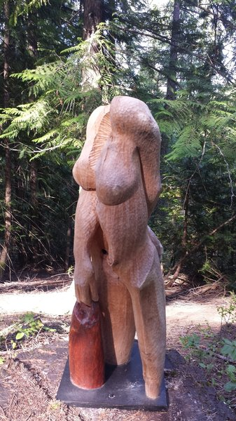 The landowner is a sculptor who loves to place his art along the trail.