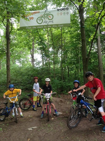 To find the trail system, look for the entrance sign by the parking lot of Granby Elementary.