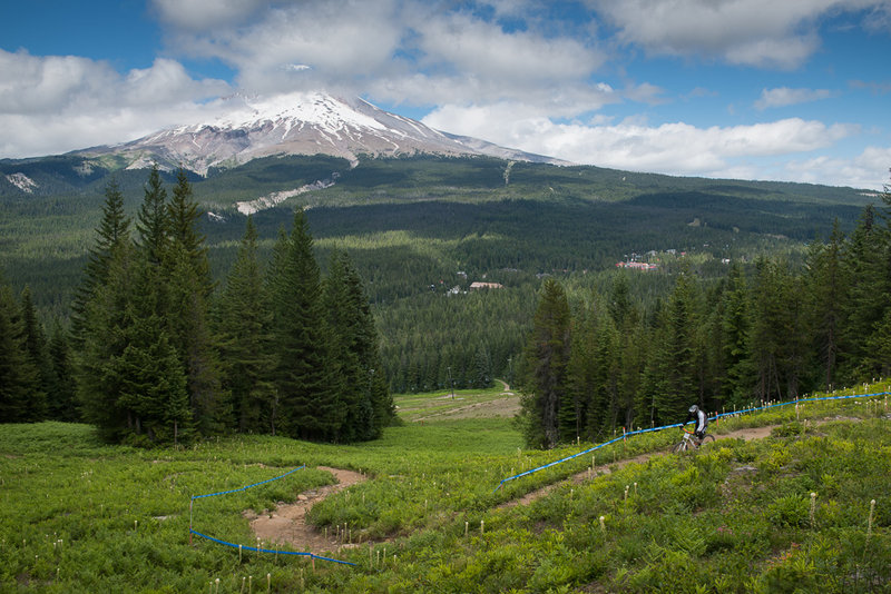 Riding on Fire Hydrant trail with Mt. Hood as a backdrop.