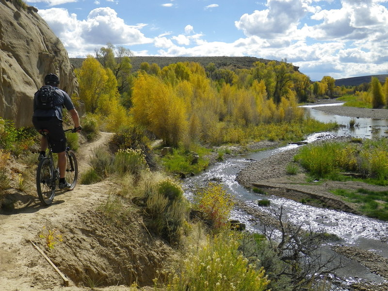 Technical section at cliffs edge above Bear River.
