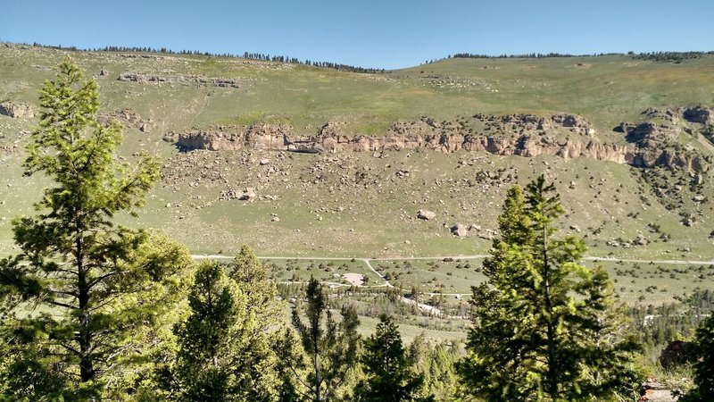 Looking across Sinks Canyon and down at the Sinks Canyon Campground parking lot.