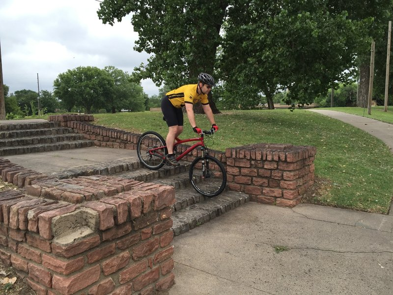 A small set of stairs to gain confidence and learn how to ride down.