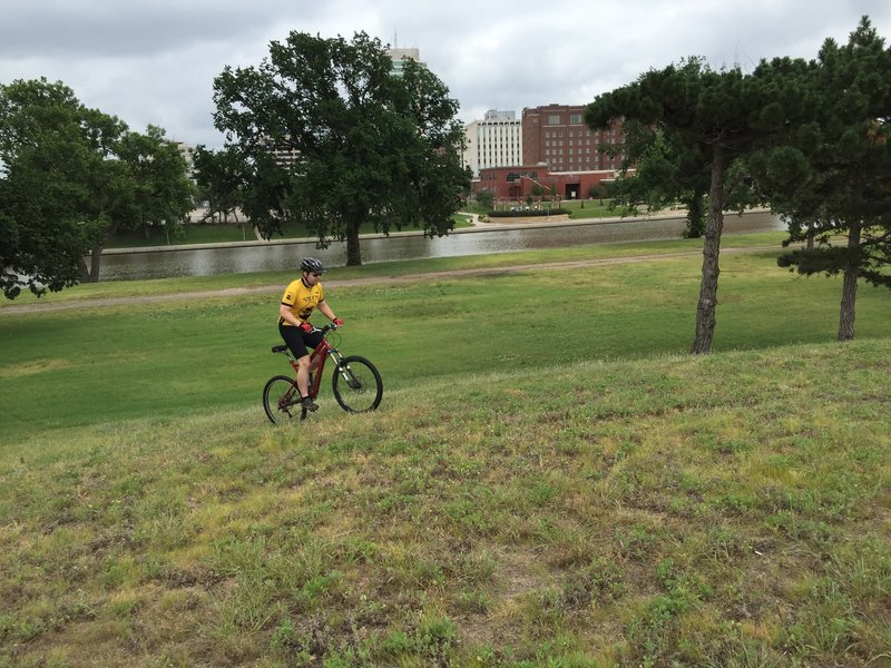 Riding up any part of this hill is a good workout.  Riding up the riverbank will provide the same workout!