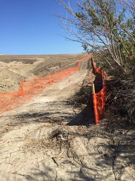Open trail alongside the development area.